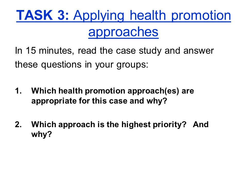 health promotion questions and answers Ielts academic reading task type 11 (short answer questions)  as the answers will usually be  health promotion,.