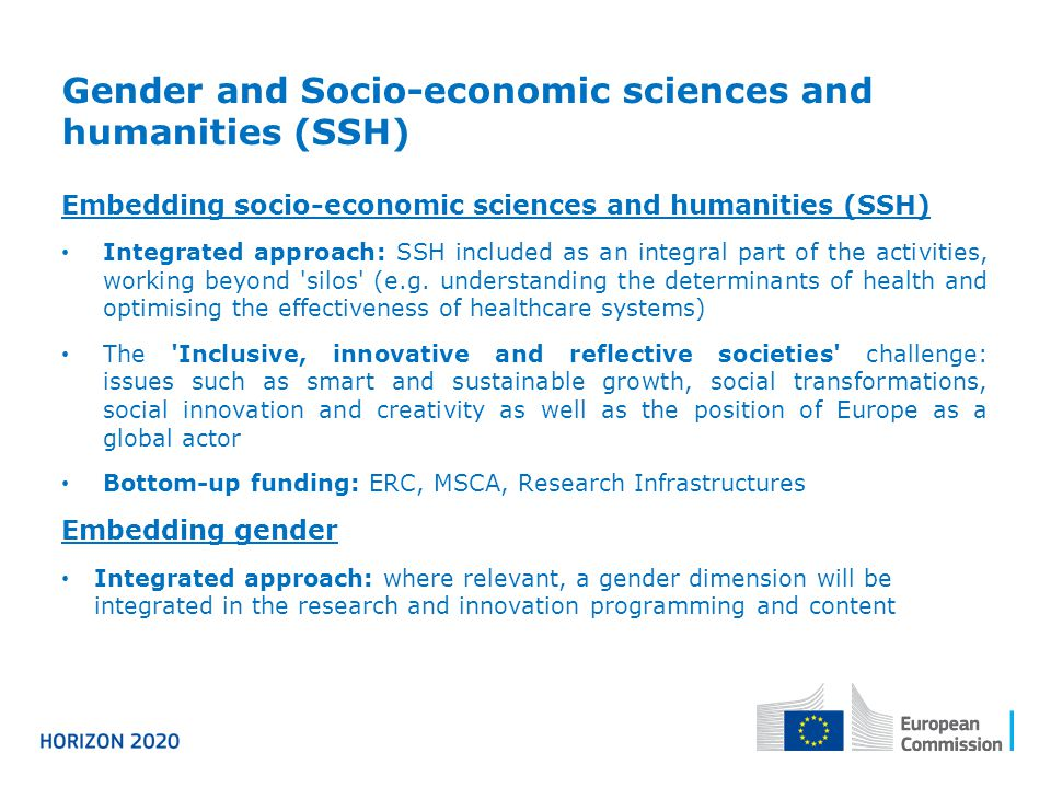 Gender and Socio-economic sciences and humanities (SSH)