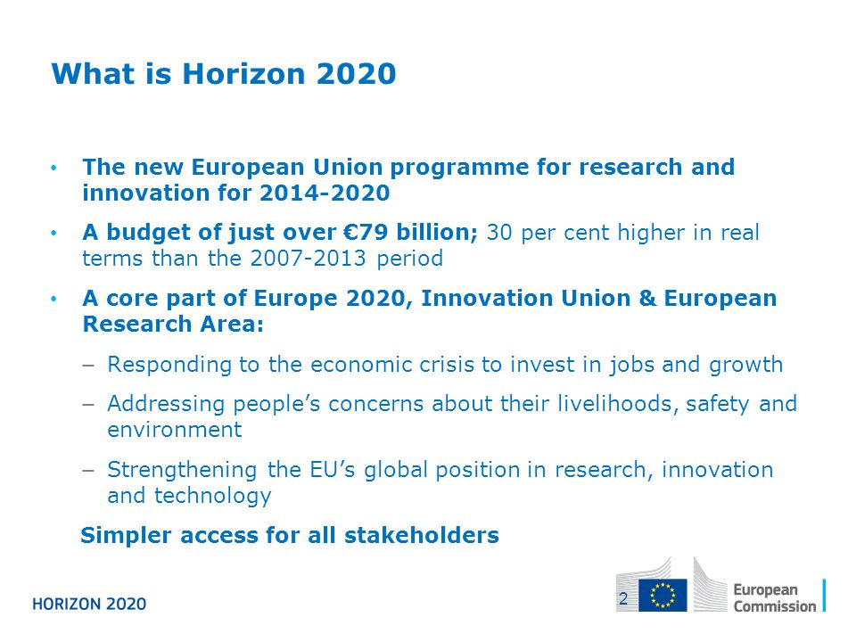 04/12/2013 What is Horizon The new European Union programme for research and innovation for