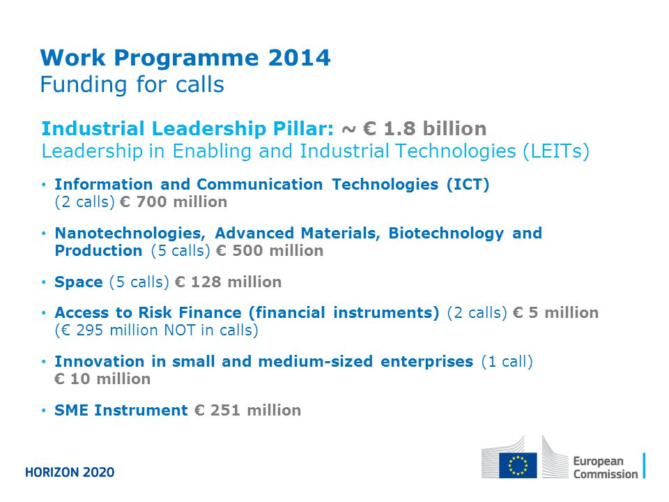Work Programme 2014 Funding for calls