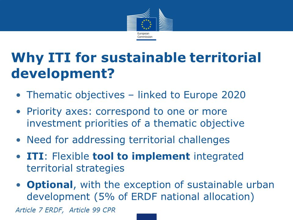 Why ITI for sustainable territorial development