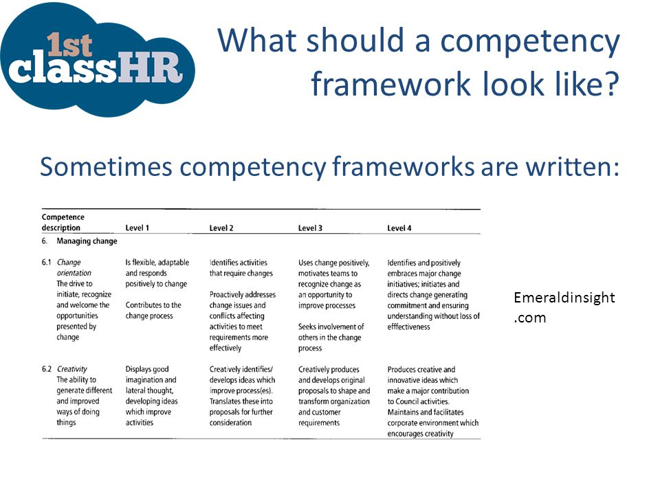 What should a competency framework look like