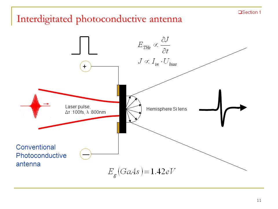 Interdigitated photoconductive antenna