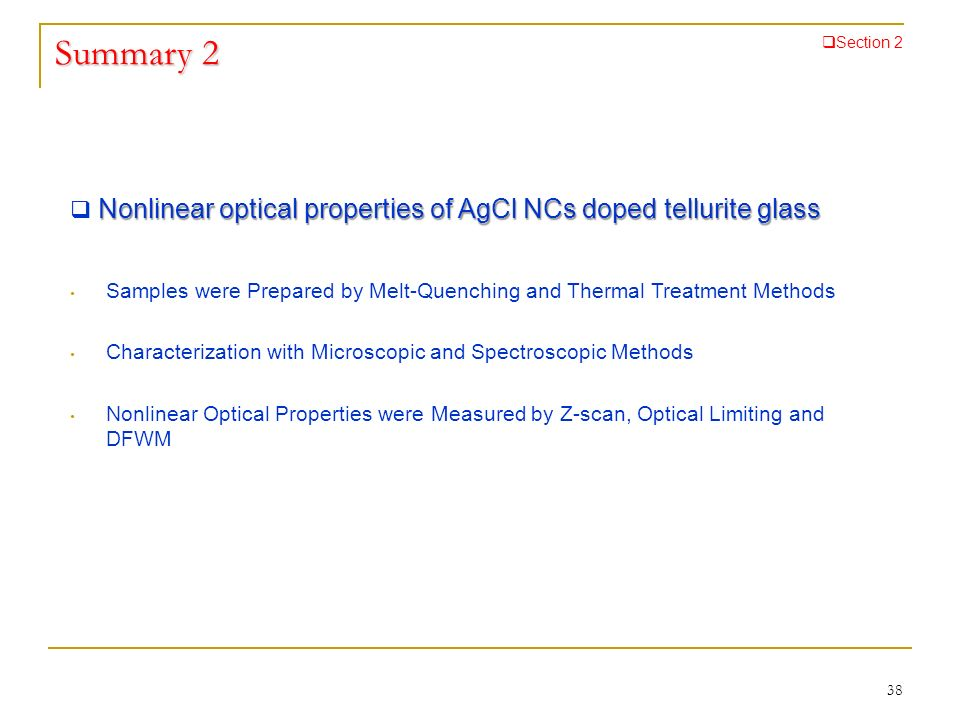 Summary 2 Section 2. Nonlinear optical properties of AgCl NCs doped tellurite glass.