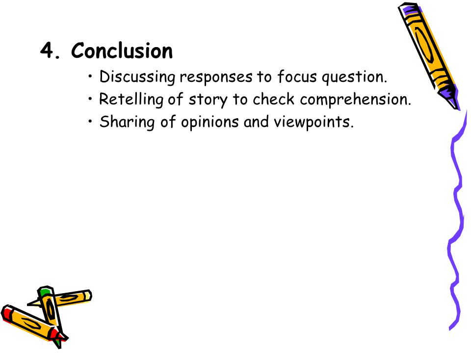 4. Conclusion Discussing responses to focus question.