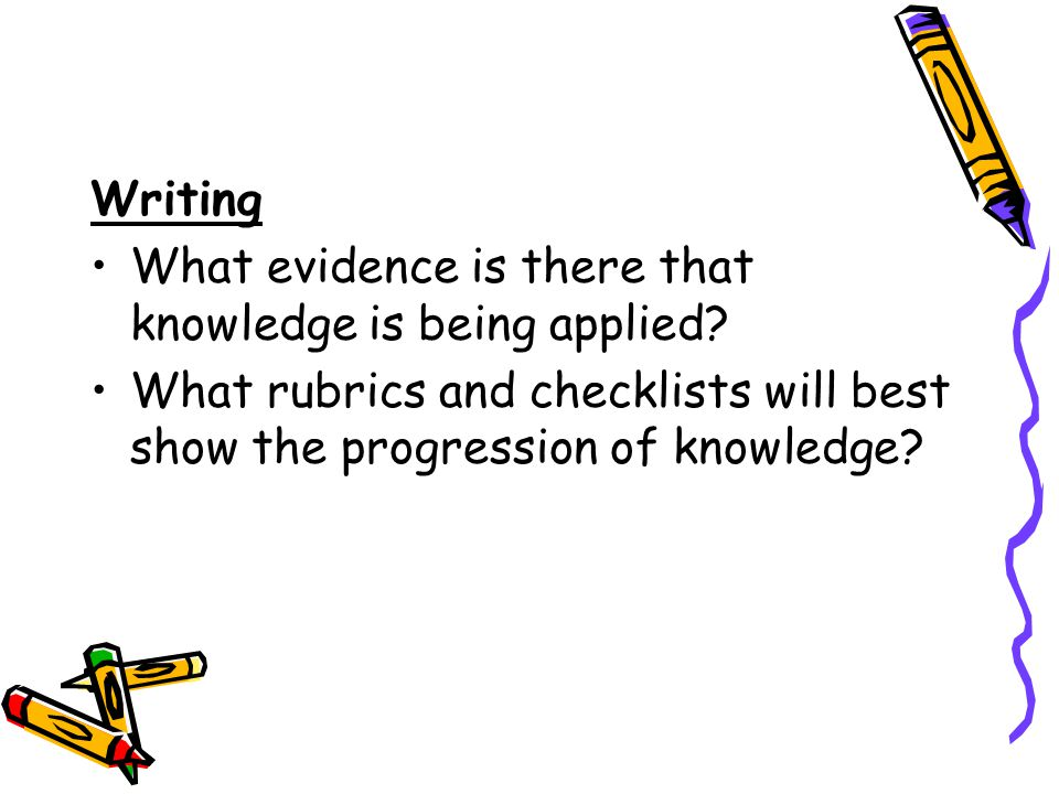 Writing. What evidence is there that knowledge is being applied.