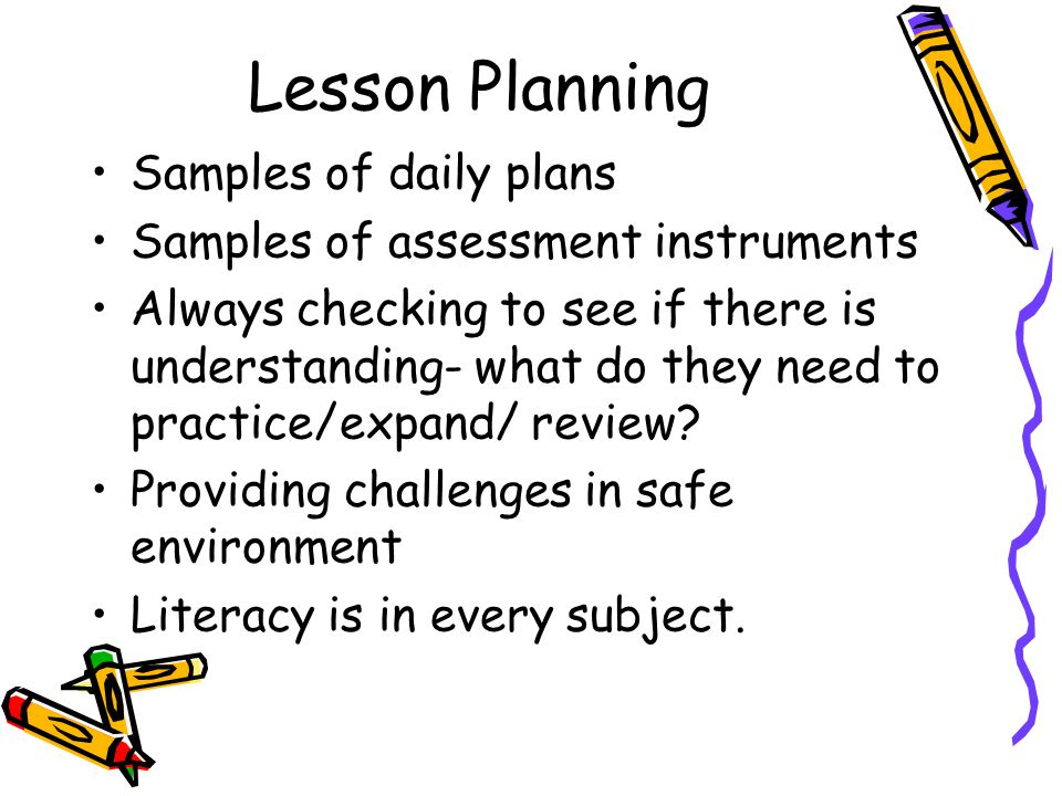 Lesson Planning Samples of daily plans