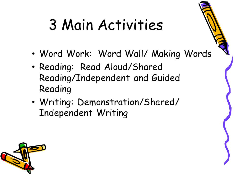 3 Main Activities Word Work: Word Wall/ Making Words
