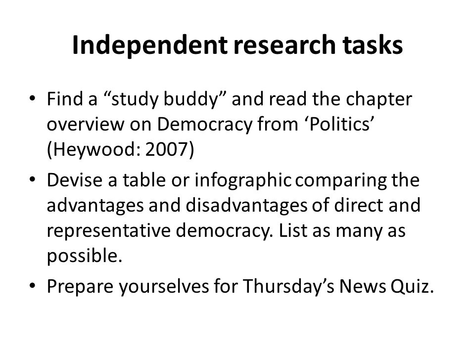 a study of democracy direct and representative Do we need more or less direct democracy' and find homework help for other social sciences questions at enotes new study guides.