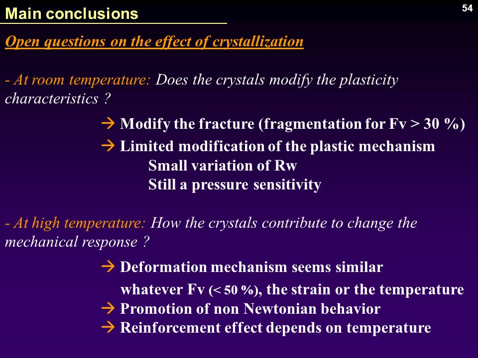 Main conclusions Open questions on the effect of crystallization. - At room temperature: Does the crystals modify the plasticity characteristics