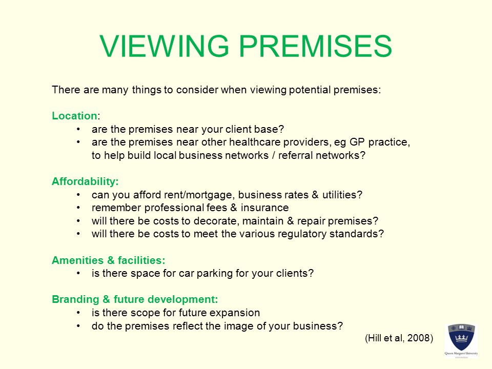 Business plan premises and location