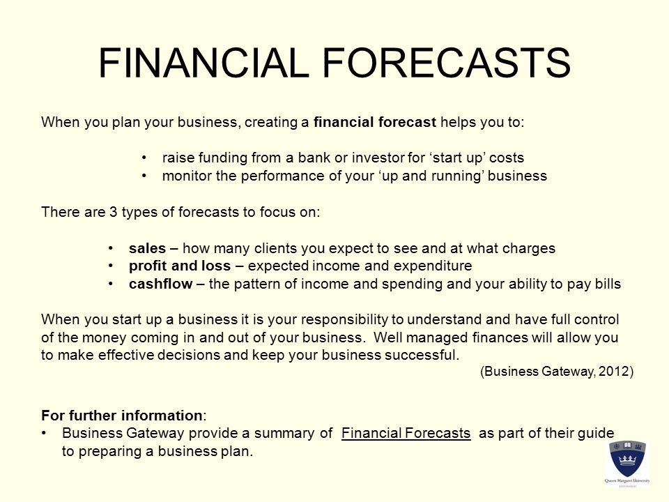 Financial forecasts for business plans