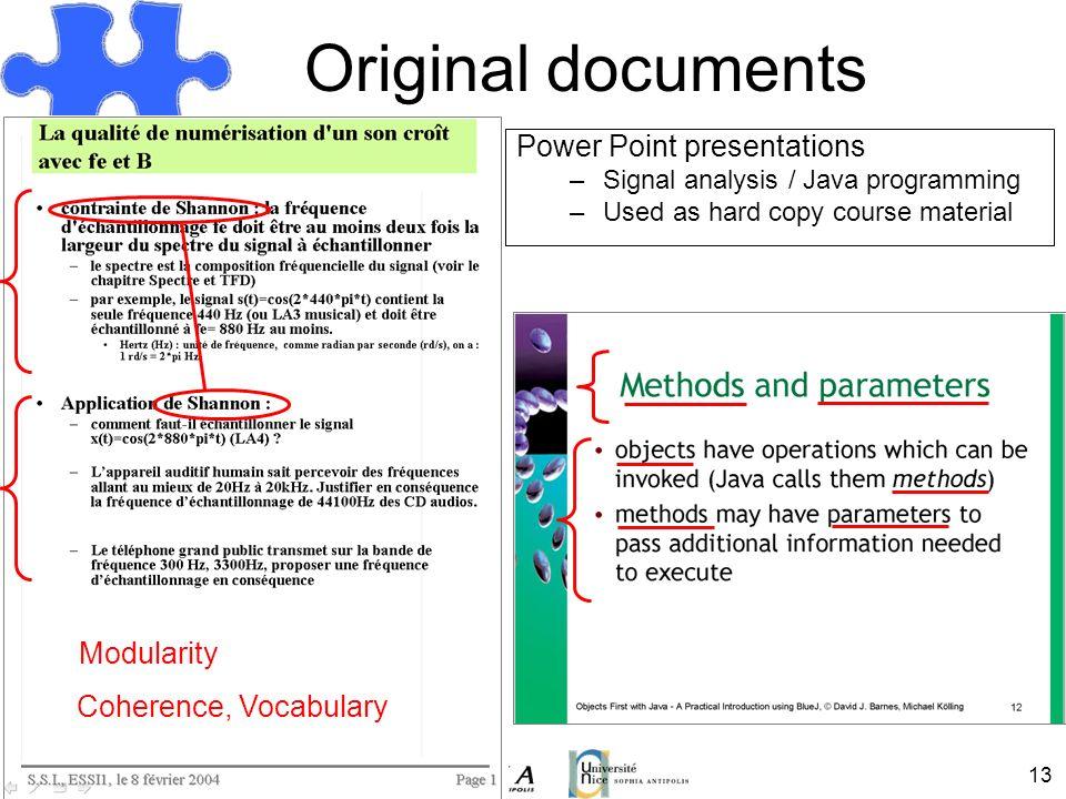 Original documents Power Point presentations Modularity