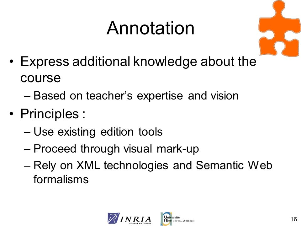 Annotation Express additional knowledge about the course Principles :