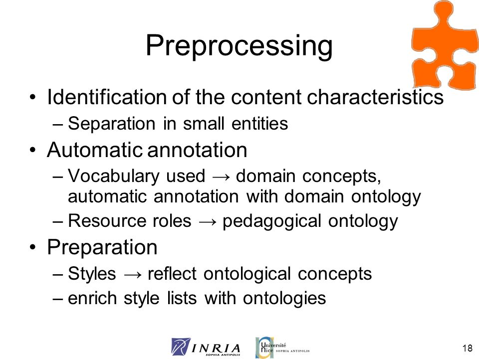 Preprocessing Identification of the content characteristics