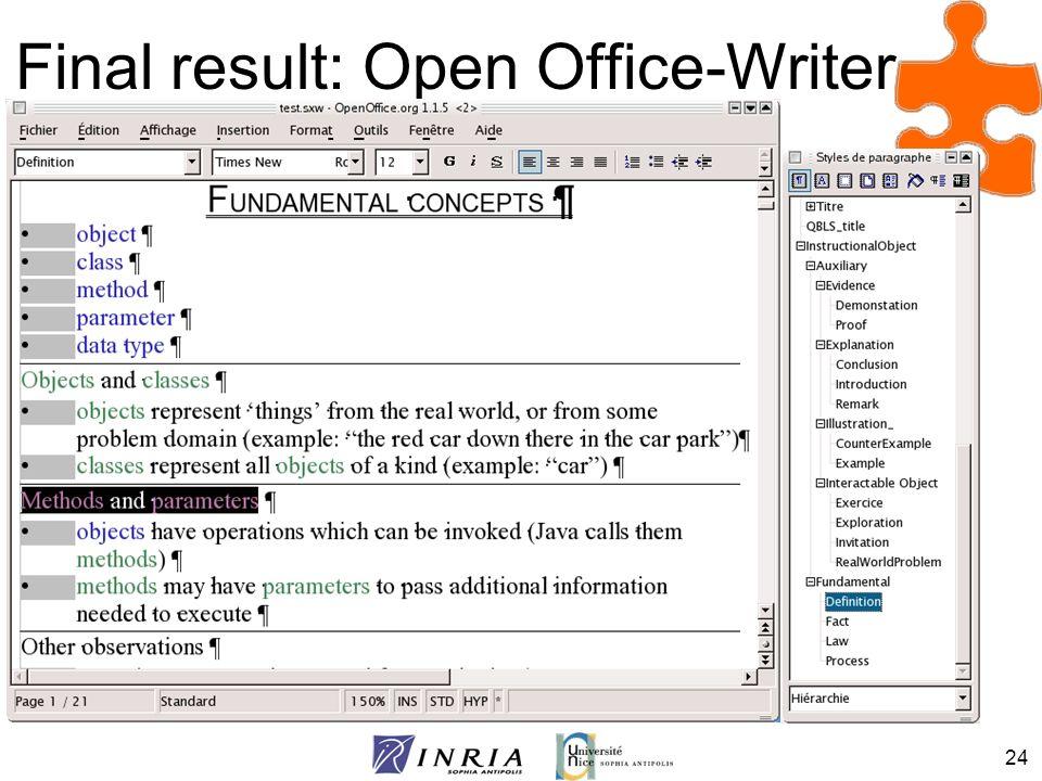 Final result: Open Office-Writer