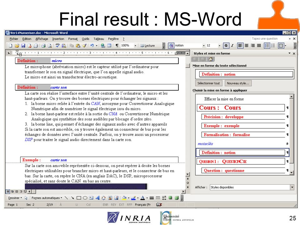 Final result : MS-Word
