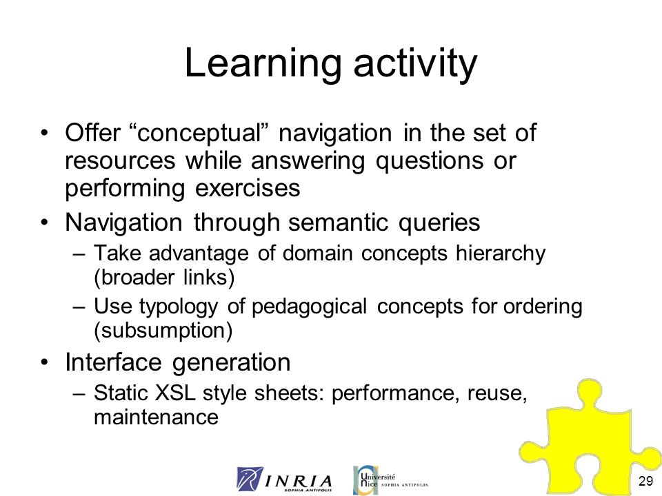 Learning activity Offer conceptual navigation in the set of resources while answering questions or performing exercises.