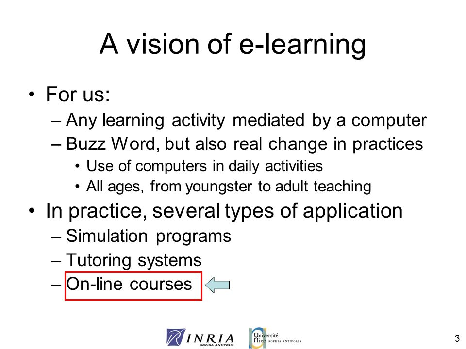A vision of e-learning For us: