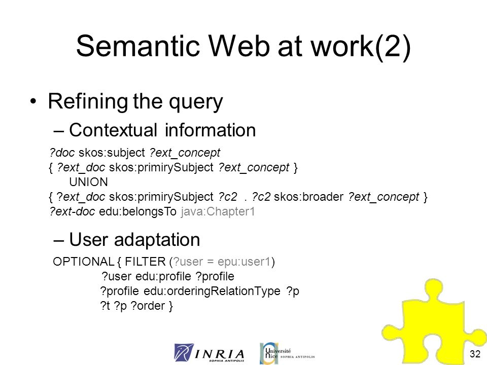 Semantic Web at work(2) Refining the query Contextual information