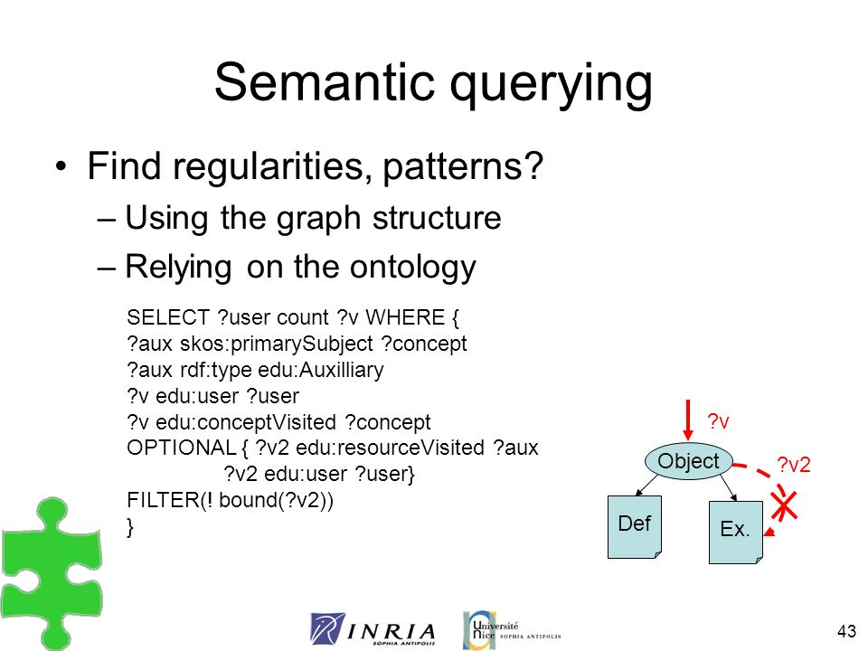 Semantic querying Find regularities, patterns