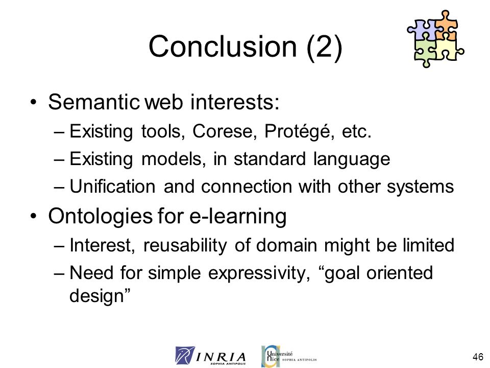Conclusion (2) Semantic web interests: Ontologies for e-learning