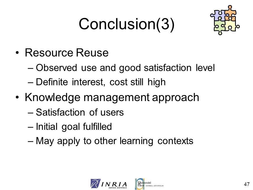 Conclusion(3) Resource Reuse Knowledge management approach