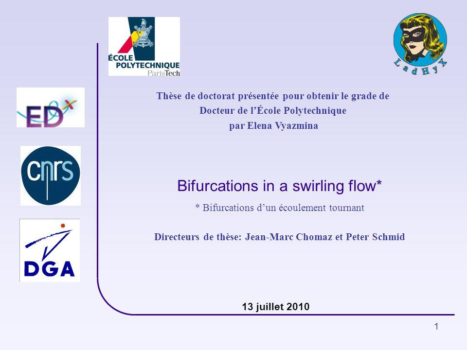 Bifurcations in a swirling flow*