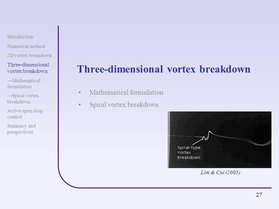 Three-dimensional vortex breakdown