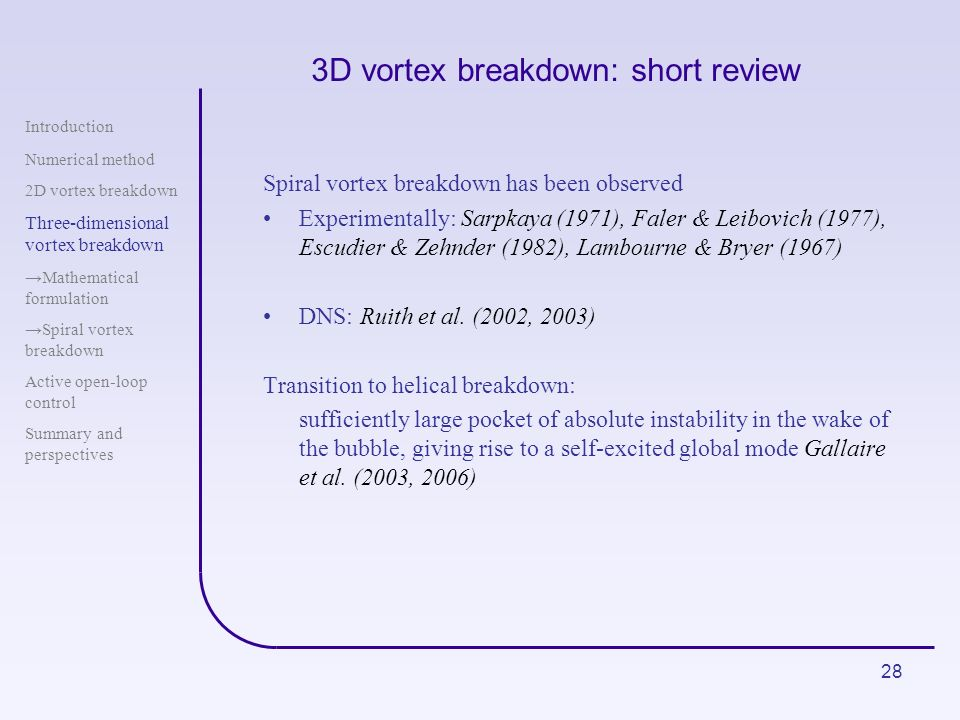 3D vortex breakdown: short review