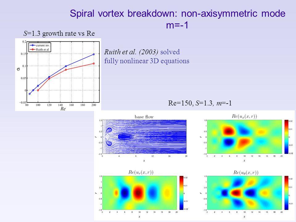 Spiral vortex breakdown: non-axisymmetric mode m=-1