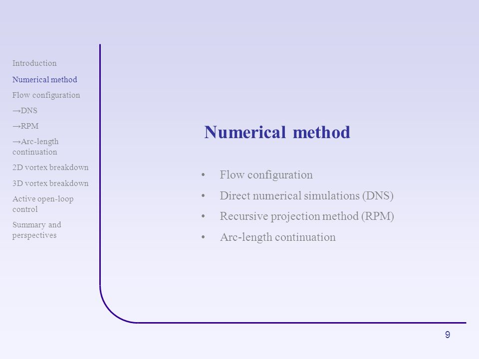 Numerical method Flow configuration Direct numerical simulations (DNS)