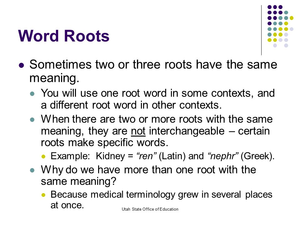 Medical terminology utah state office of education ppt for Bureau word origin
