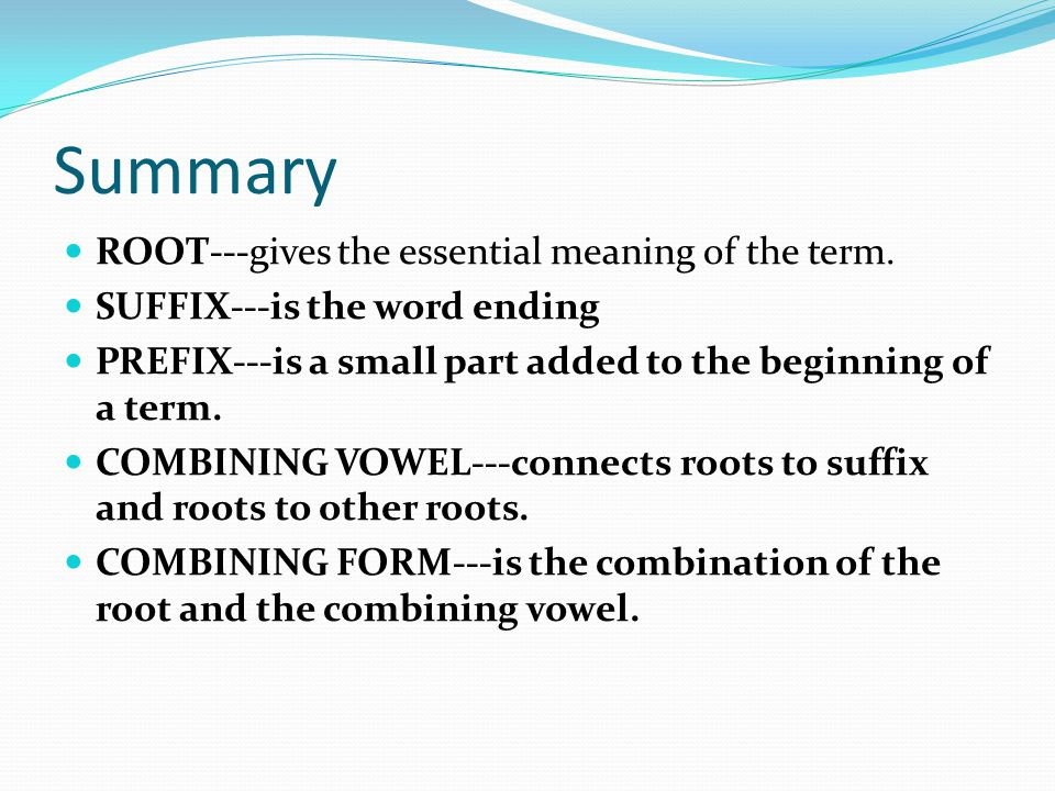 Summary ROOT---gives the essential meaning of the term.