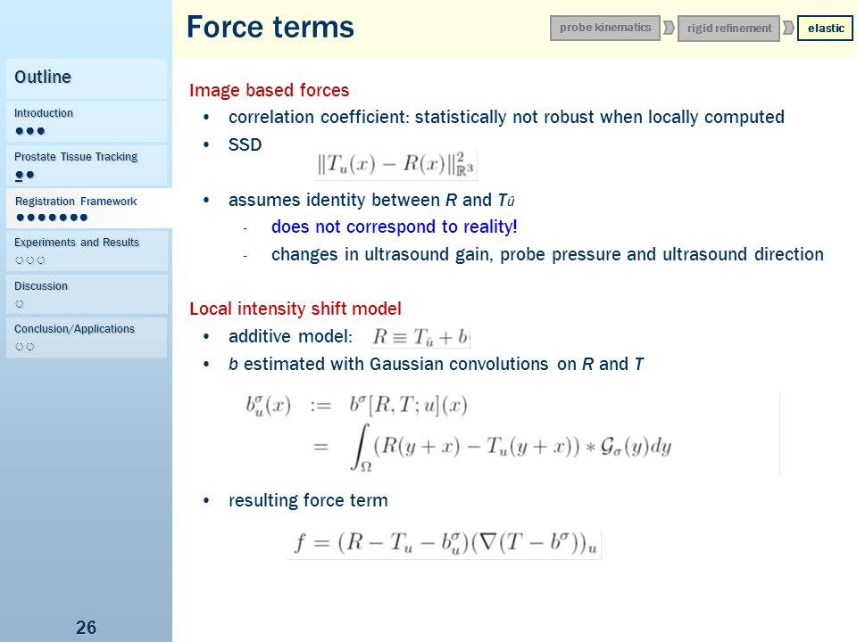 Force terms Outline Image based forces