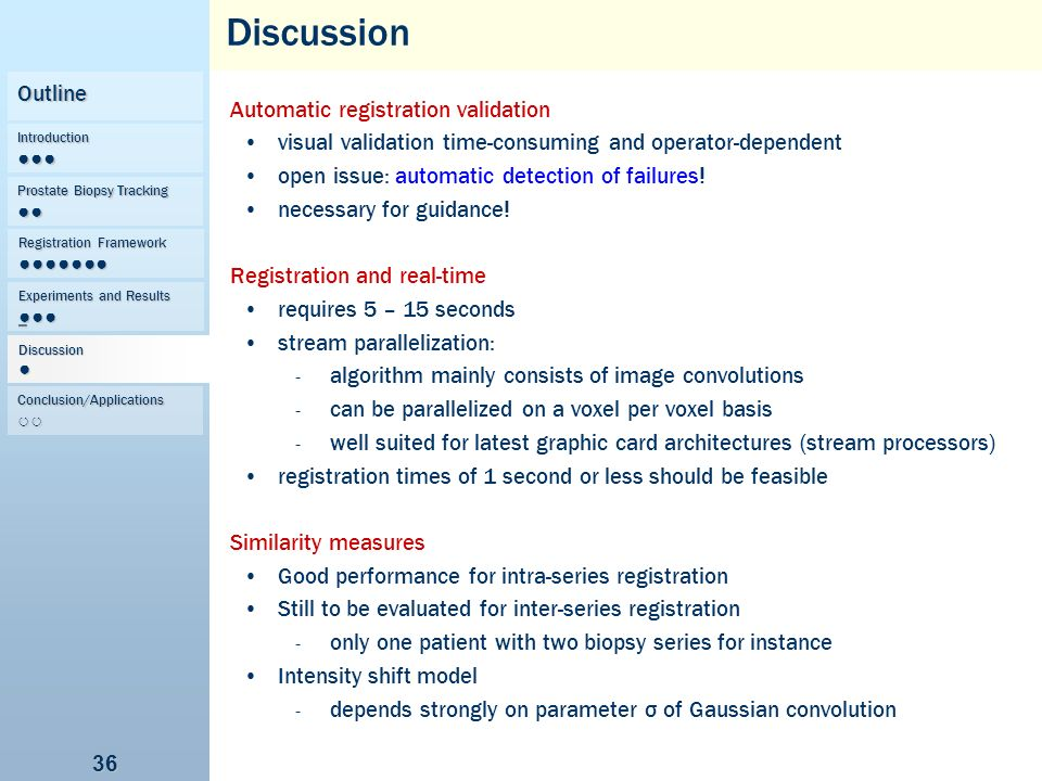 Discussion Outline Automatic registration validation
