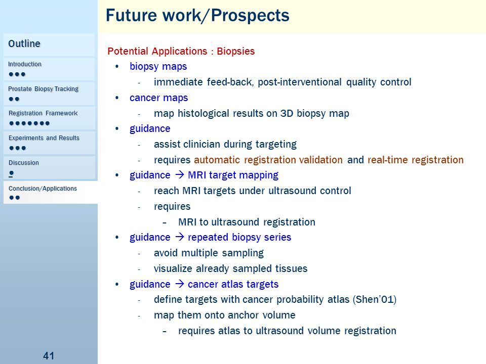 Future work/Prospects