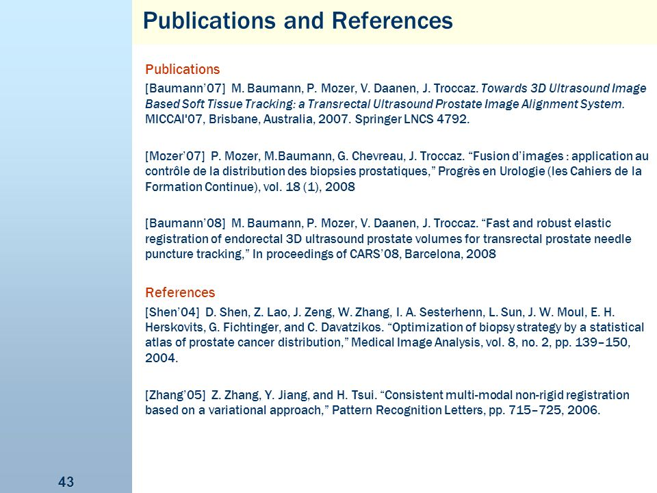 Publications and References