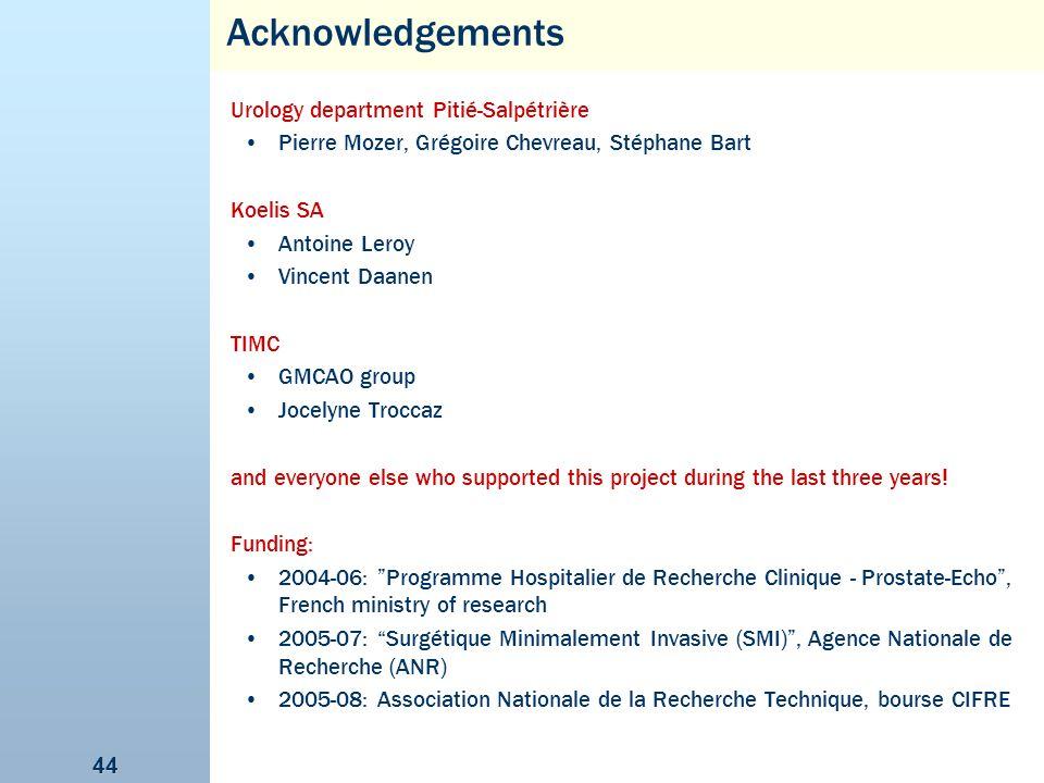 Acknowledgements Urology department Pitié-Salpétrière