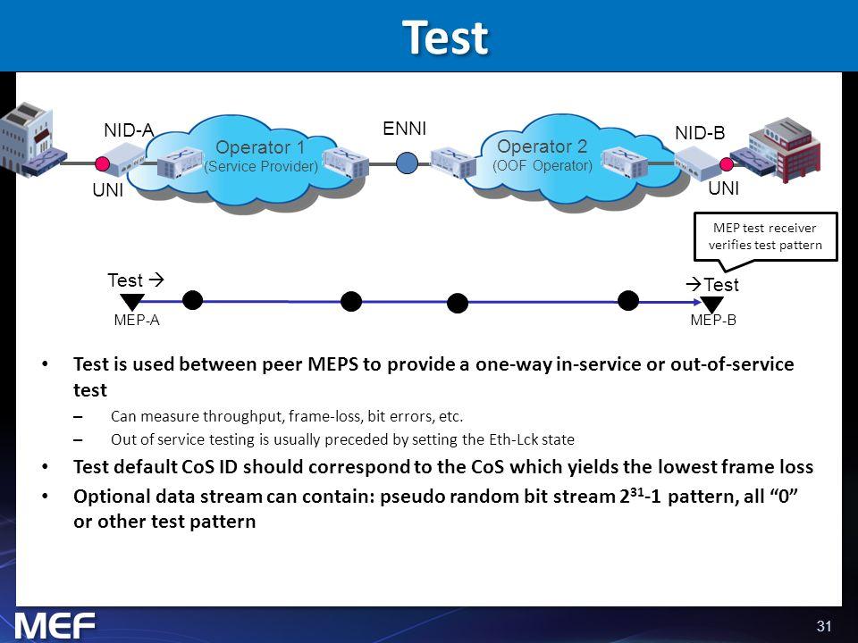 MEP test receiver verifies test pattern