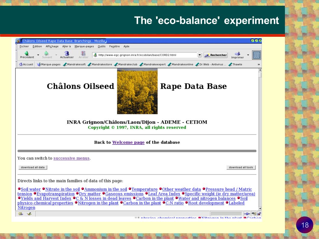 The eco-balance experiment