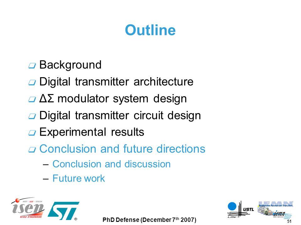 Outline Background Digital transmitter architecture