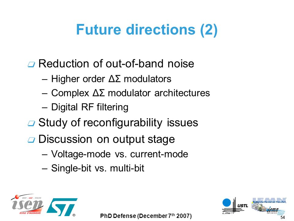 Future directions (2) Reduction of out-of-band noise