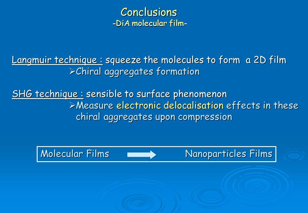 Conclusions -DiA molecular film-