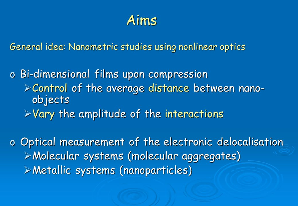 Aims Bi-dimensional films upon compression