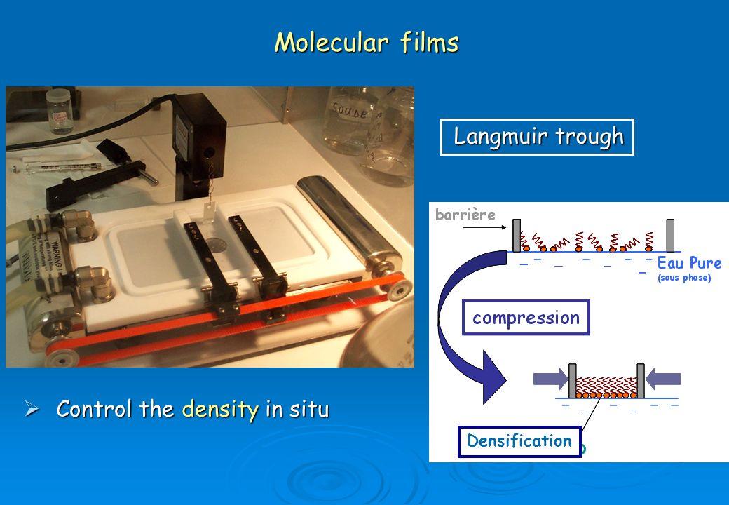 Molecular films Langmuir trough Control the density in situ