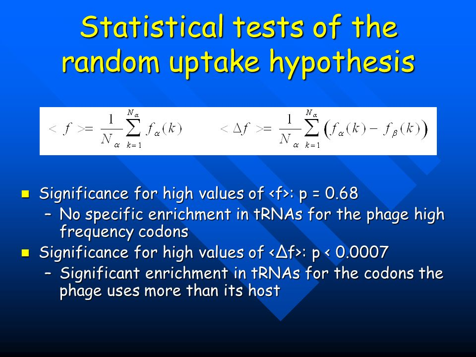 Statistical tests of the random uptake hypothesis