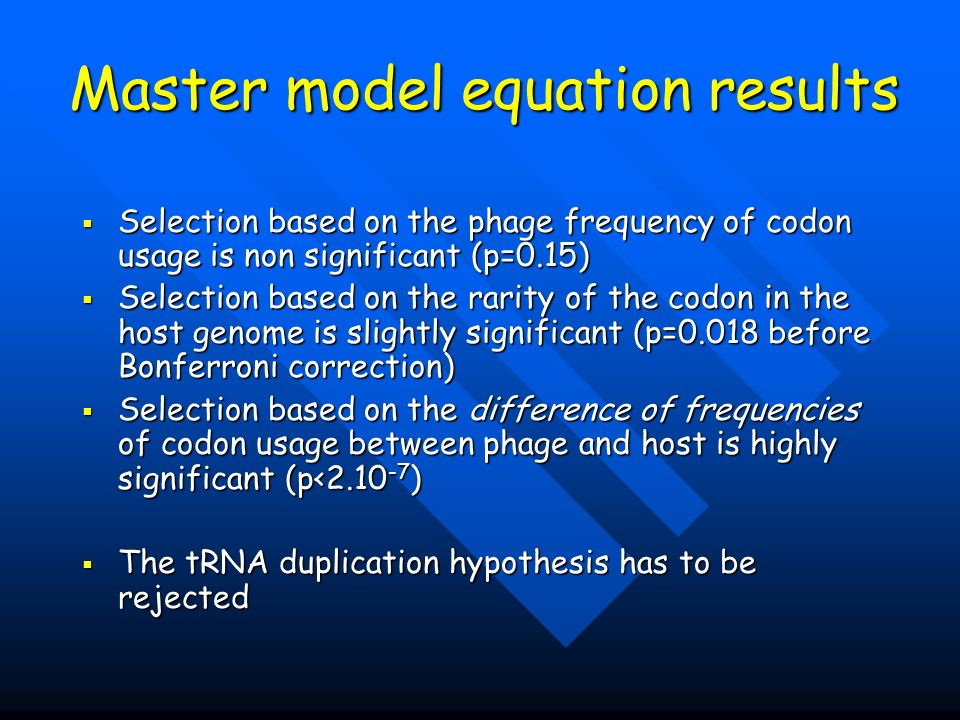 Master model equation results