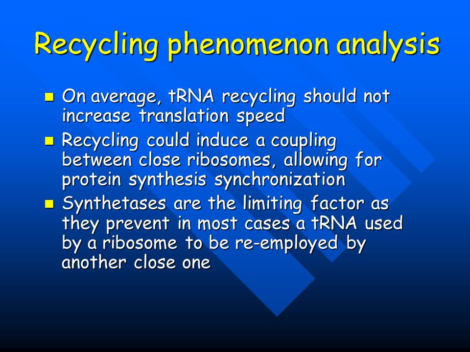 Recycling phenomenon analysis