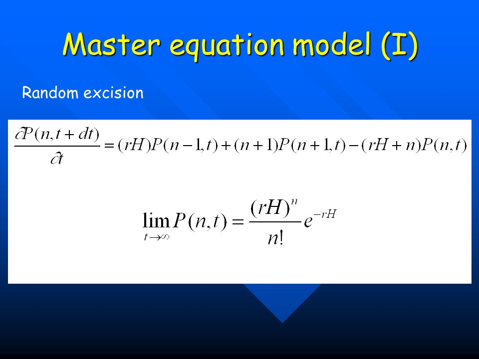 Master equation model (I)